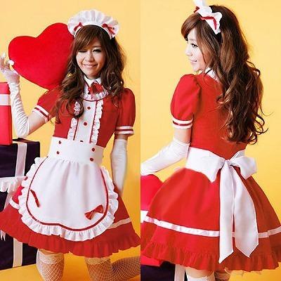 リボン襟×フリルラブリーメイド・赤の衣装